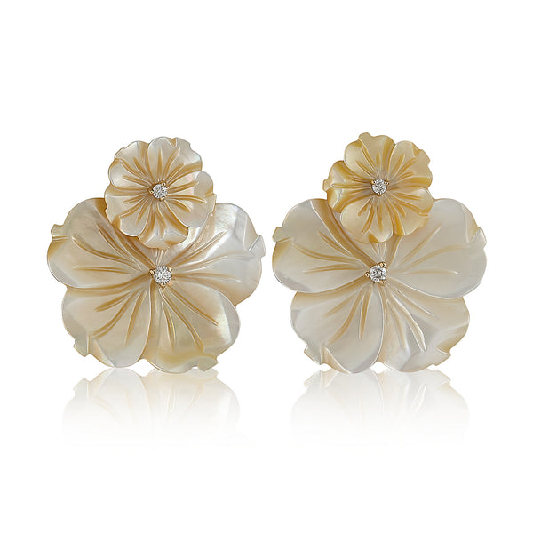 Yellow Double Flower Earrings