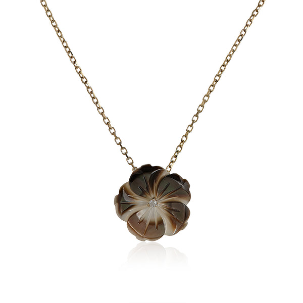 Gray Shell Flower Necklace