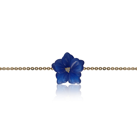 Blue Cateye Flower Bracelet
