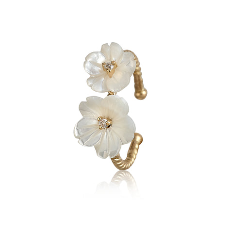 White Double Flower Ring
