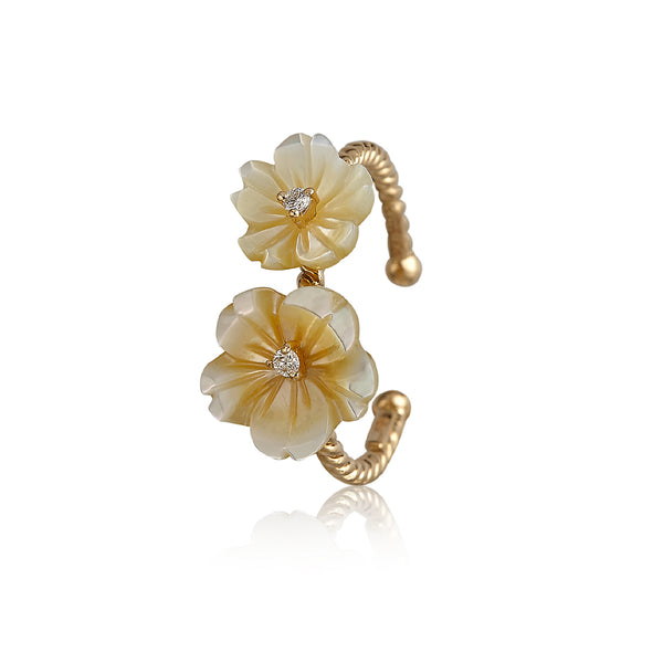 Yellow Double Flower Ring