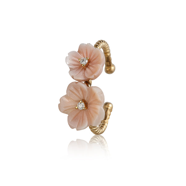 Pink Double Flower Ring