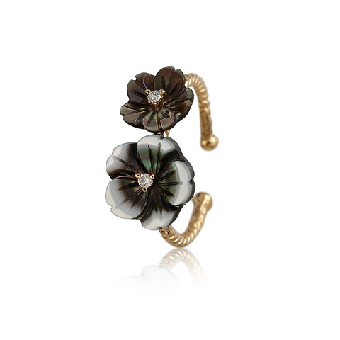 Gray Double Flower Ring