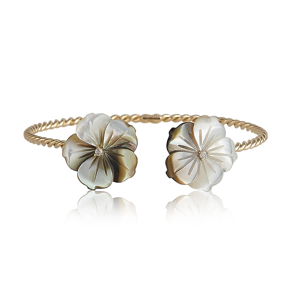 Gray Double Flower Bangle