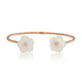 White Double Flower Bangle