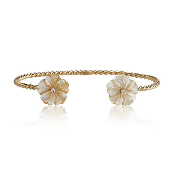 Yellow Double Flower Bangle
