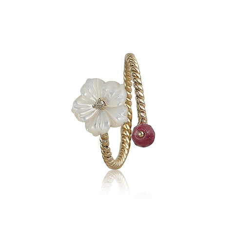 White 'N Red Wrap Flower Ring