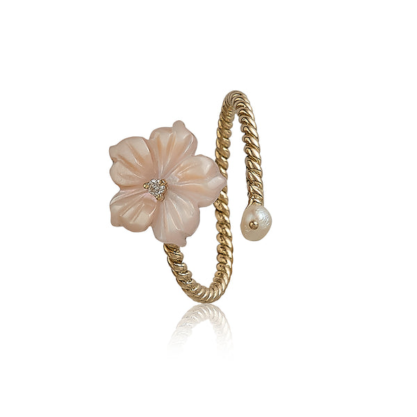 Pink Wrap Flower Ring with Pearls