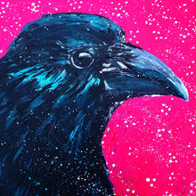 crow,crow painting,bird,bird art,small painting,canvas art