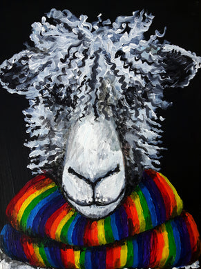 sheep art,rainbow,scarf,funky sheep,animal art,portrait