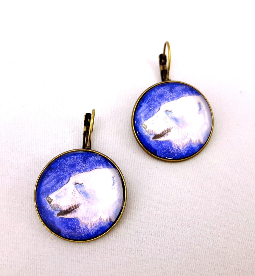 Quirky folk art animal style lever back earrings