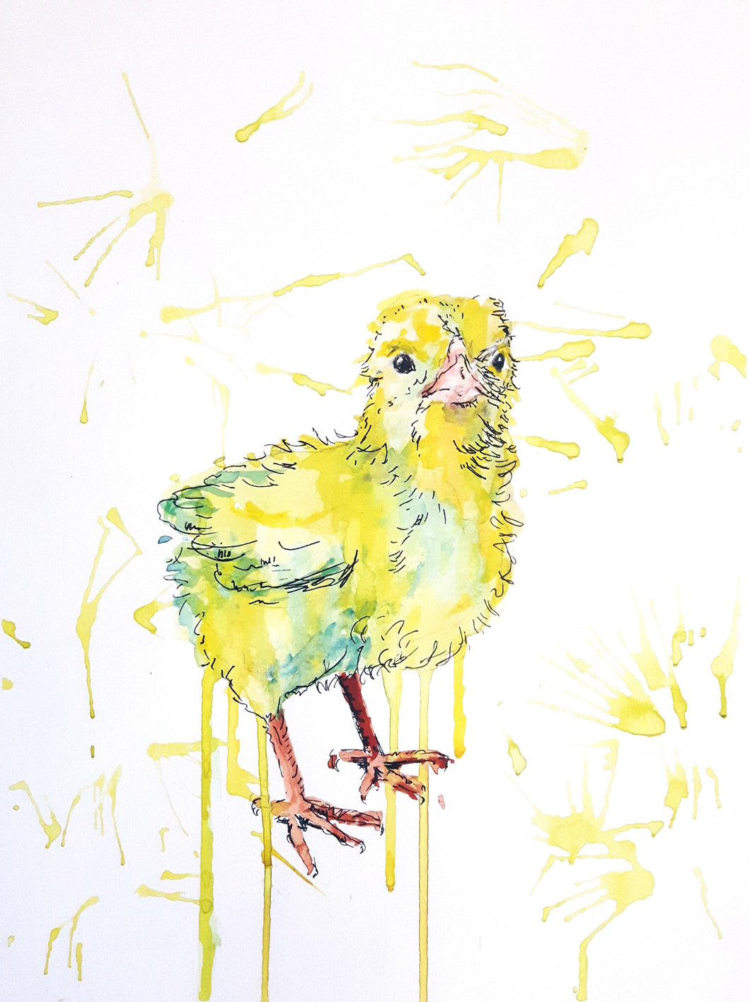 chick,Easter,bird,bird painting,artwork,yellow bird