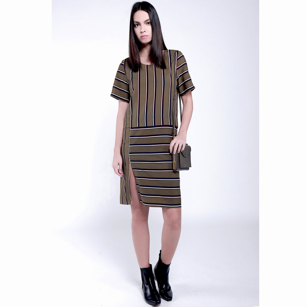 Contemporary short sleeve with slit Stripe Printed Dress - Olive Green