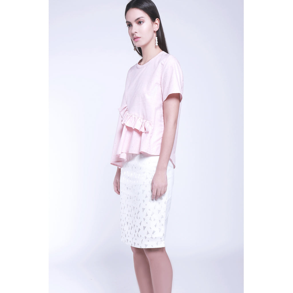 Round neck pink top blouse with ruffles and irregular hem