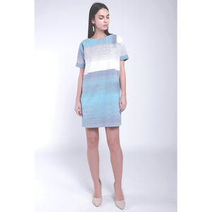 BLUE TINT RHYTHM LINE STRIPE PRINTED DRESS