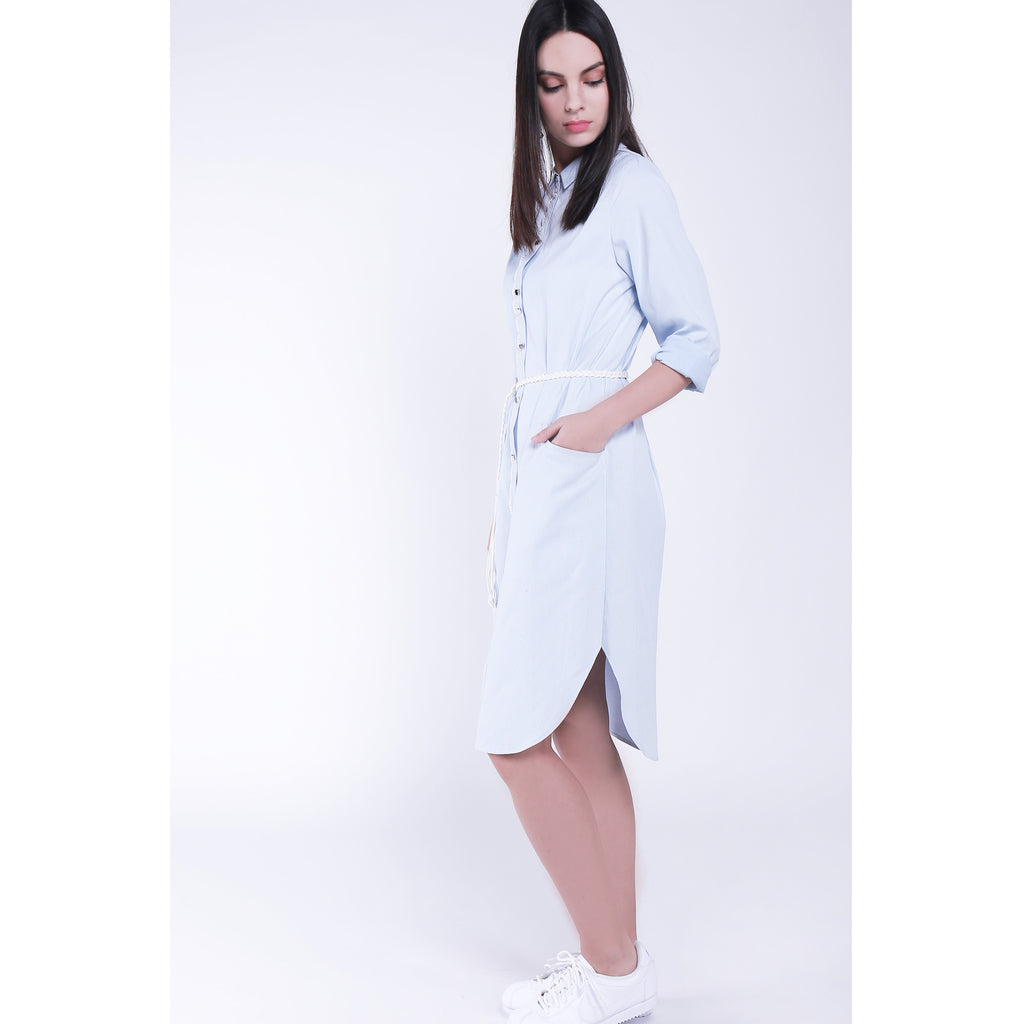 Light blue color stripe weave fabric long shirt dress with hand-weaved white belt