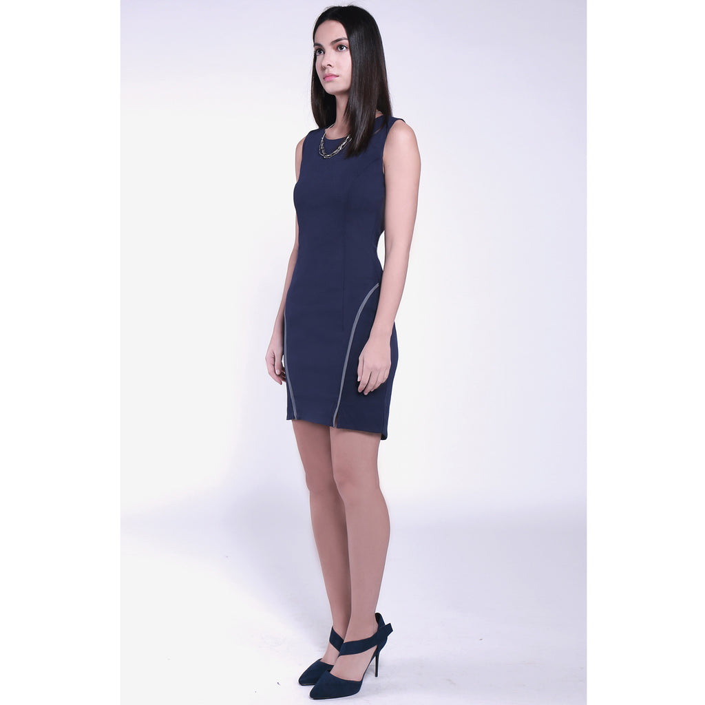 Modern round neck curved hem high elastic deep blue navy slim fitted bodycon dress