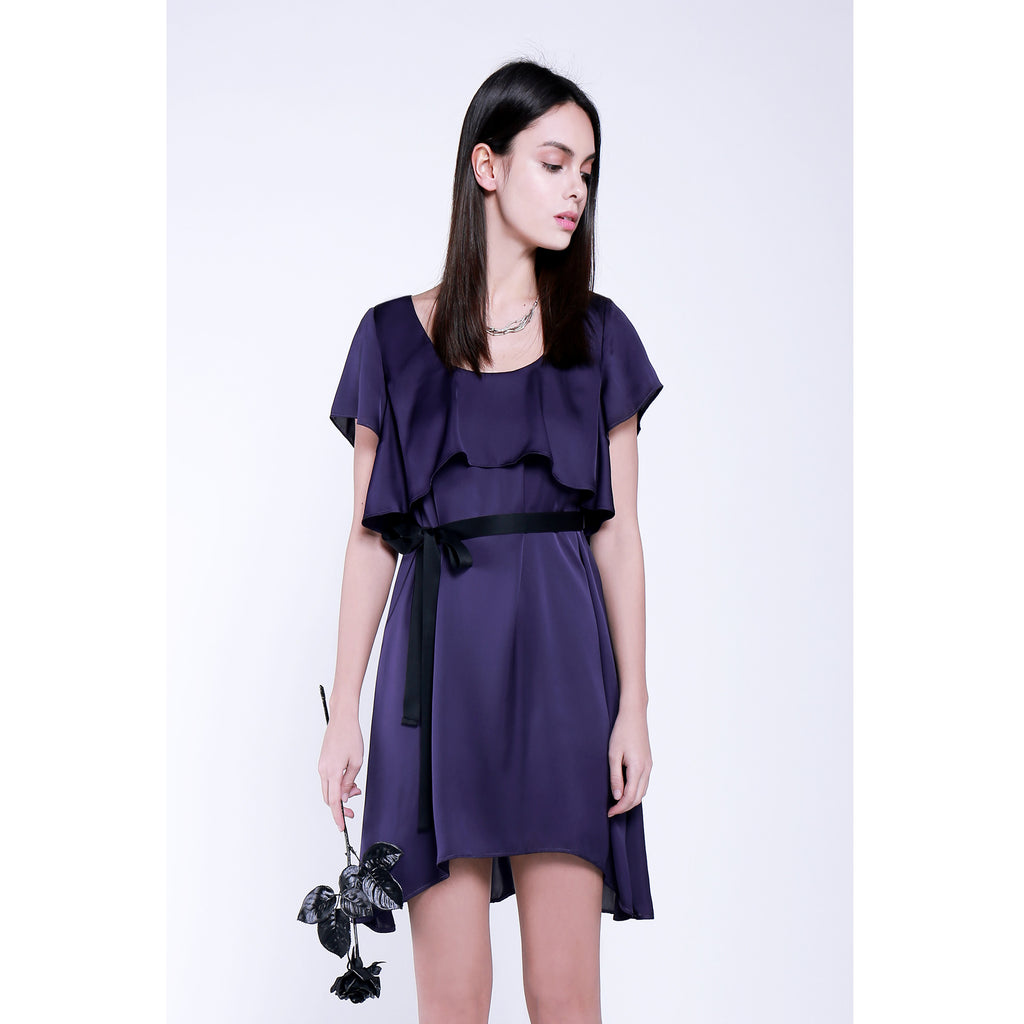 Purple flared black rose dress