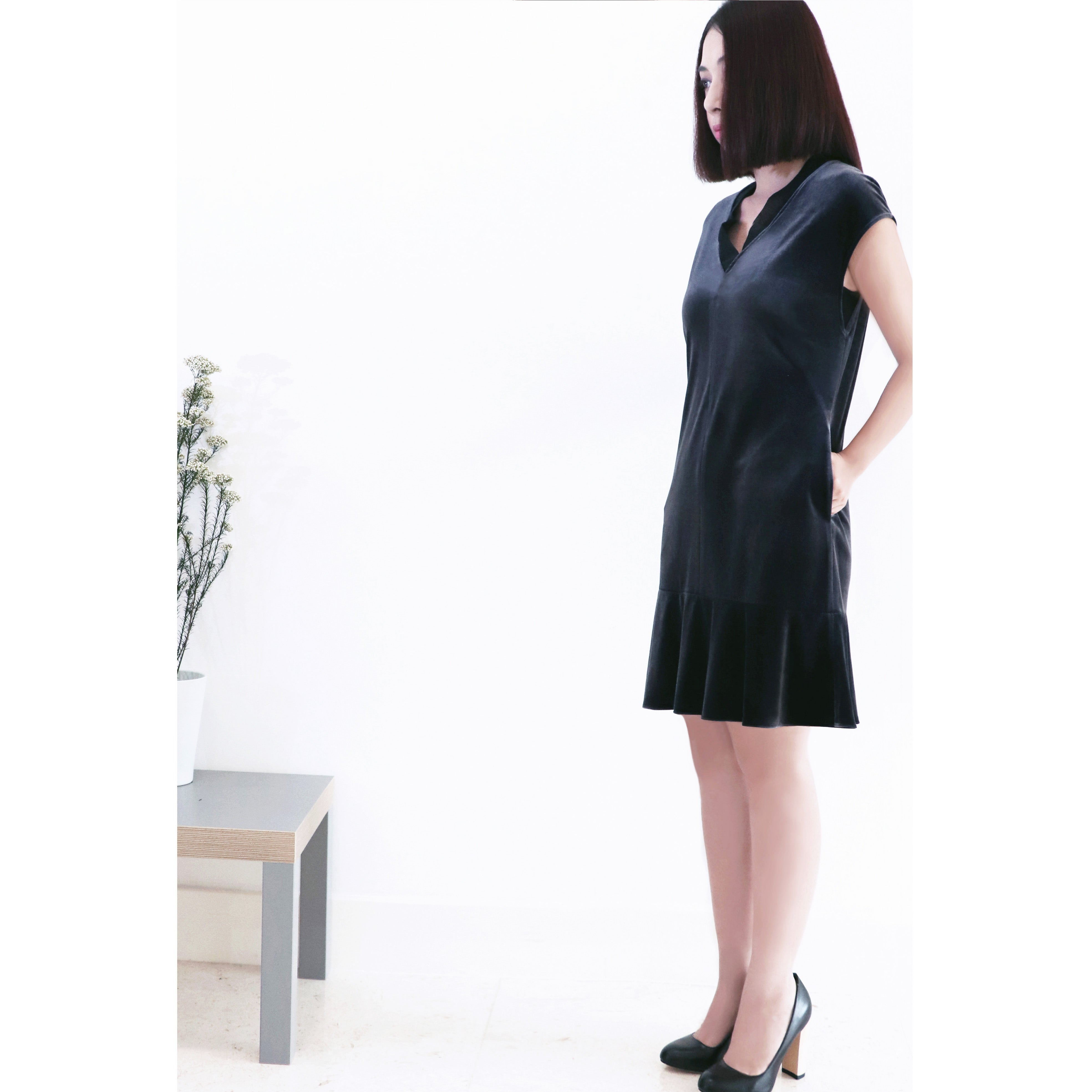 Simple elegant V neck Grey luminous velvet soft jersey, sleeveless , flare ruffle hem dress
