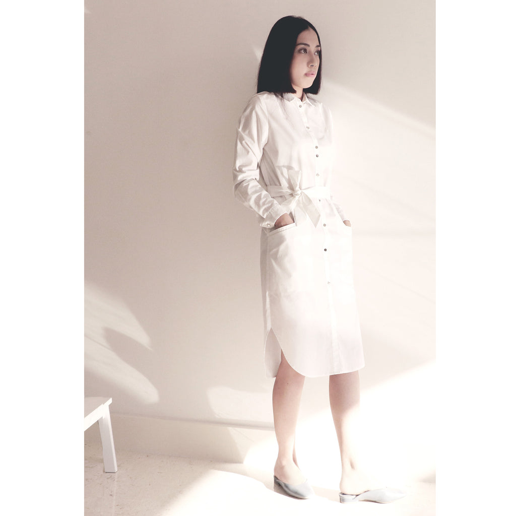 White long shirt dress