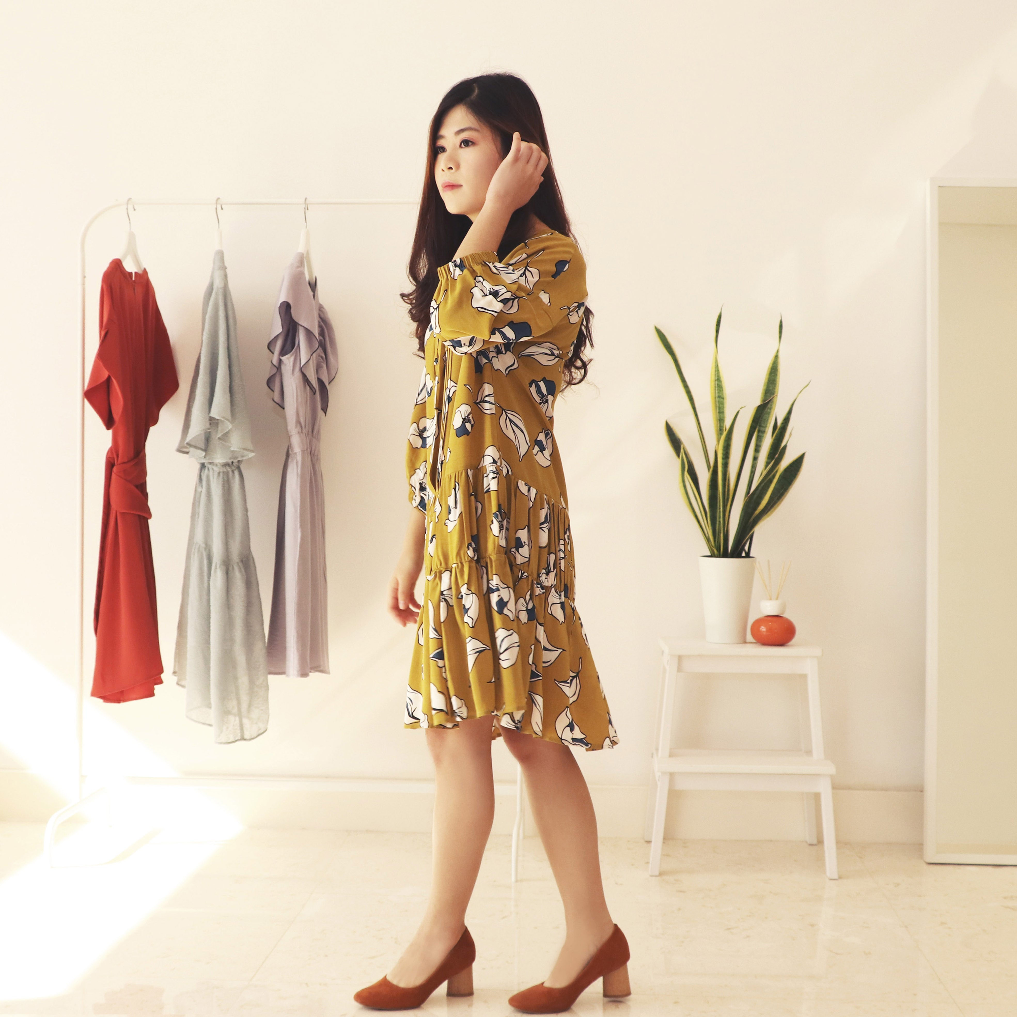 Yellow Floral Print Dress Soft and light opaque fabric British Style loose fit