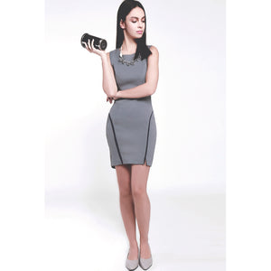 Modern round neck curved hem grey color slim fitted high elastic fabric bodycon dress