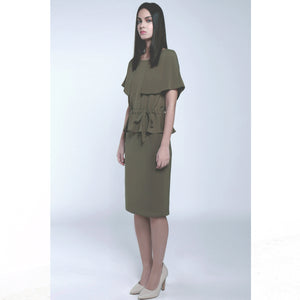 Olive green round neck caped long dress various ways of wearing soft texture draped fabric