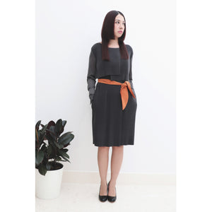 Grey modern pleated shift dress, see-through bell cuff sleeves, with orange tie-belt