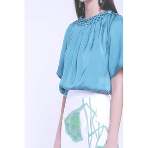 Green tint diamond handcrafts embroidery round neck collar short sleeve topthe sense of grace