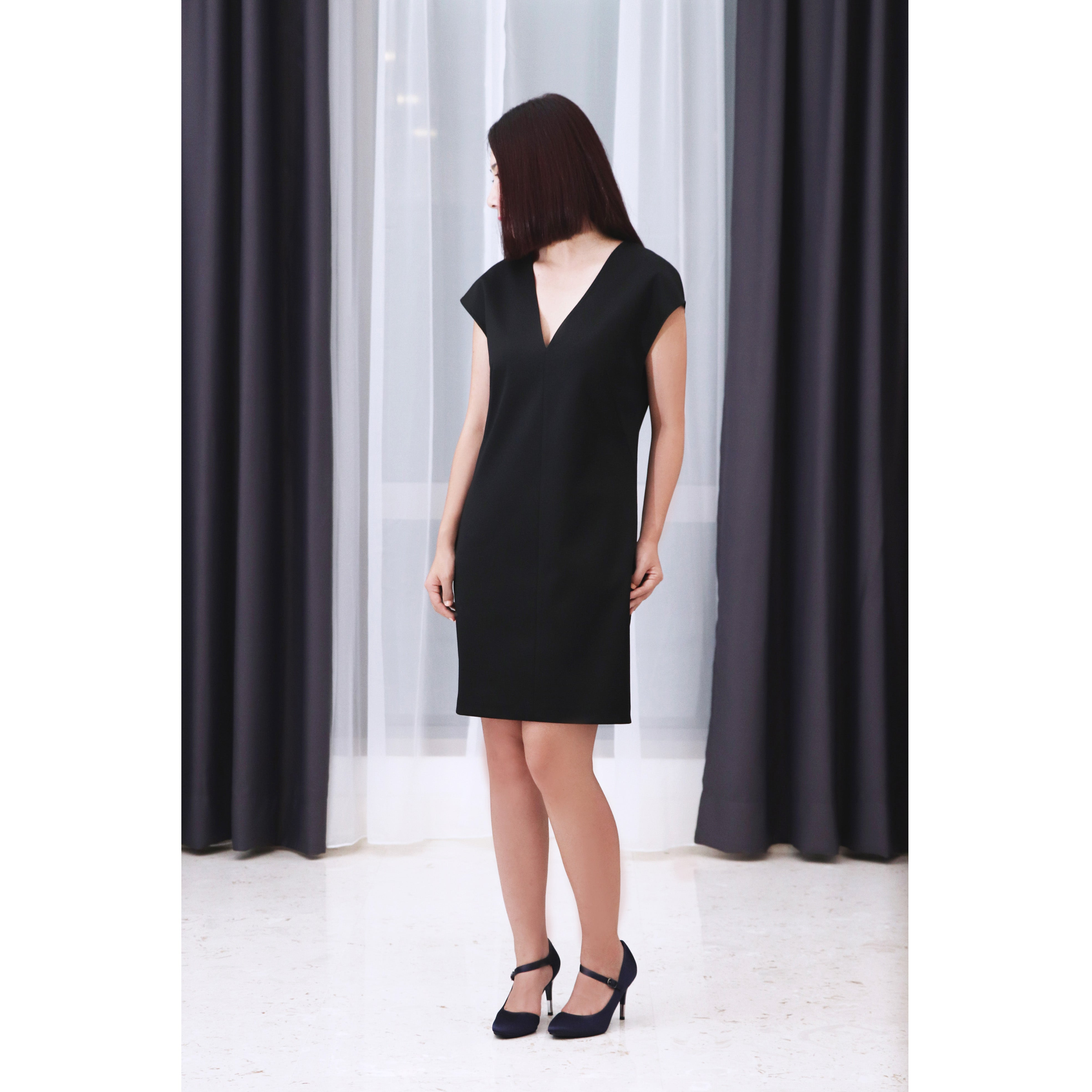 V neck and Deep V open back Shift Tunic Black Luxurious Satin Shift Tunic cocktail Dress