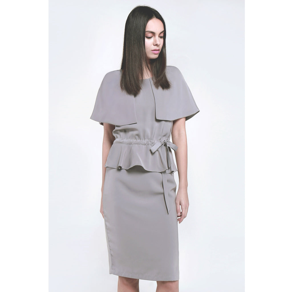 Grey color round neck caped long dress various ways of wearing soft texture draped fabric
