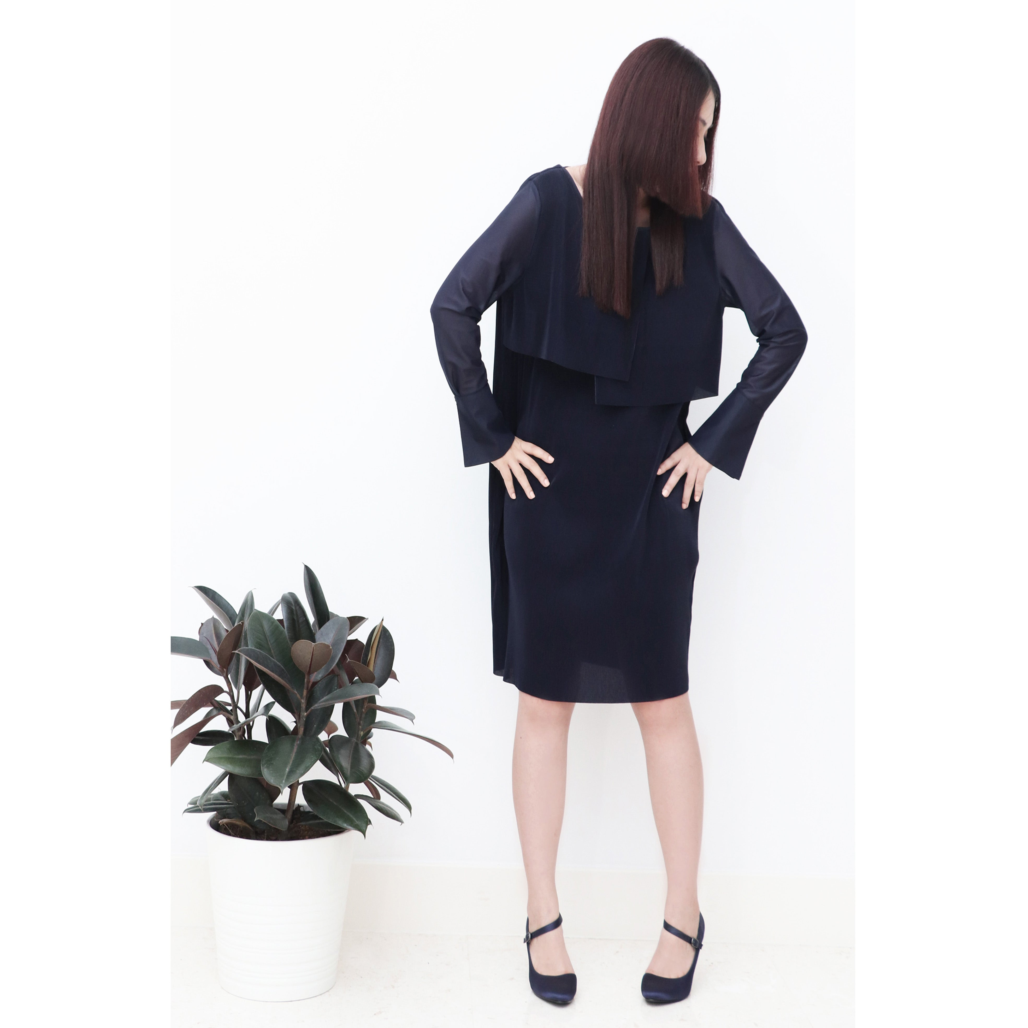 Navy Blue Modern pleated shift dress, see-through bell cuff sleeves, with orange tie-belt