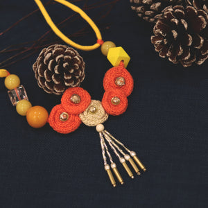 Hand Weaved Orange Necklace Natural Yellow Amber Beeswax included customized