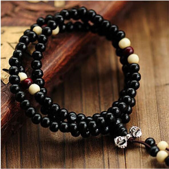 Fashion Bracelets Natural 6mm Rosewood Beads 108 Buddha Bracelets Men Women Long Bangle Religion Gift Wholesale Tibet Jewelery