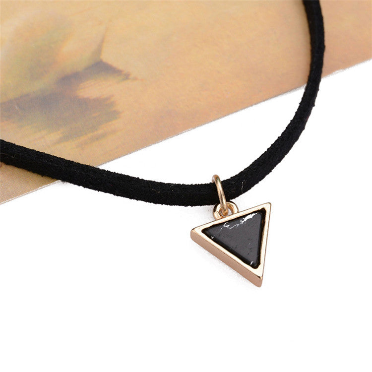 Black Chocker Necklace Imitation Triangle Stone Pendant Punk Vintage Choker Jewelery Fashion Choker Necklace For Love  #88799