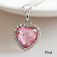 Charming Jewelery Accessories Titanic Heart Of Ocean Crystal Rhinestone Inlaid Heart Shaped Pendant Necklace NL-0485