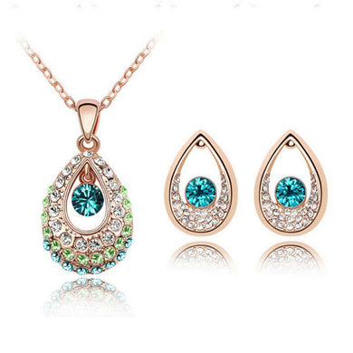 Fashion Bridal Jewelry Sets Hot Sale Classic White/ Gold Plated Water Drop Crystal Rhinestone Earrings Necklaces jewelery Set