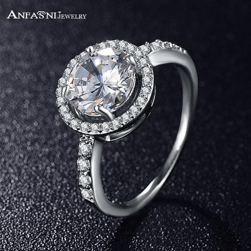 ANFASNI Women Wedding Ring Silver Color 2ct Hearts & Arrows Cut Round AAA Cubic Zircon Rings Jewelery CRI0001-B