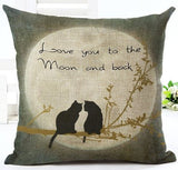 #2226 Housse coussin chat love under the moon
