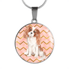 Cavalier King Charles Spaniel Circle Shaped Necklace