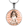 Brown Cockerspaniel Circle Shaped Necklace