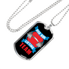 "Personalized Jewelry Dog Tag Stainless Steel or 18k Gold Plating ""Dad Bod Lifting Team"""