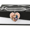 Golden Retriever Heart Charm Steel Bangle Bracelet