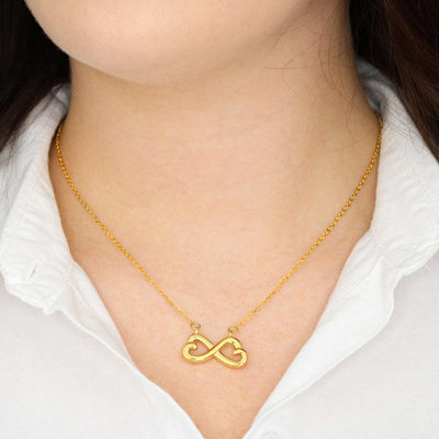 Interlocking Hearts Pendant Necklace in 14k White Gold or 18k Yellow Gold with Personalized Message Presentation Jewelry Box