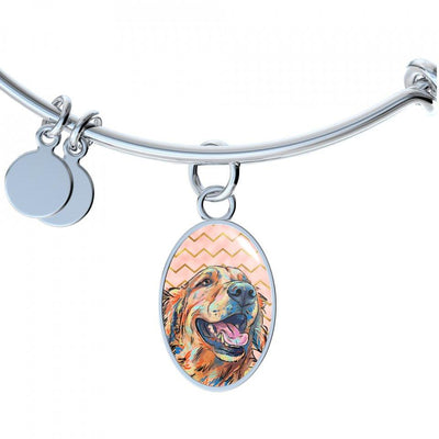 Golden Retriever Bangle Bracelet or Necklace with Oval Charm