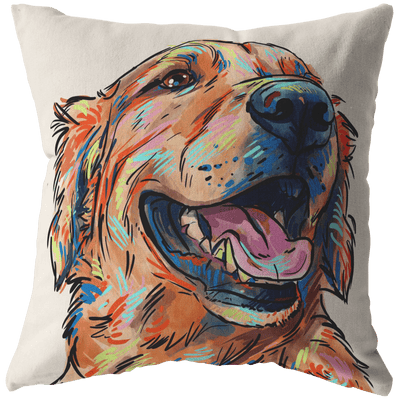 Golden Retriever Pillow Cover Only One-Sided Print - No Insert Included