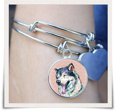 Jewelry - Siberian Husky Bangle Bracelet