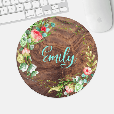 Mouse Pad, Personalized Name, Wreathe with Wood Rings Background,