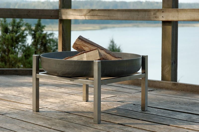 Curonian Solid Steel Fire Pit Parnidis - Tall - Fire + Pit