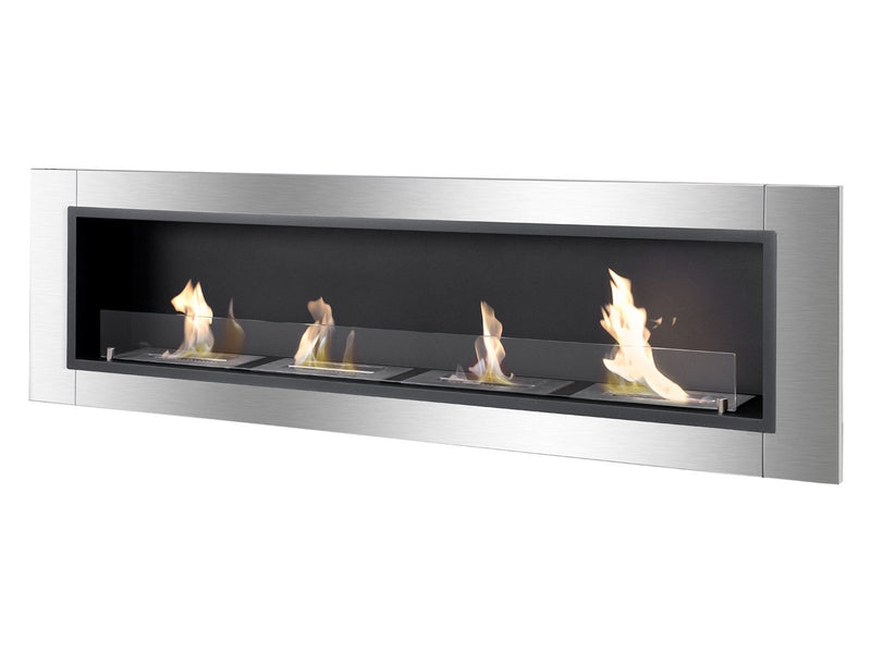 Ignis Accalia Wall Mounted / Recessed Ventless Ethanol Fireplace with Glass Barrier - Fire + Pit